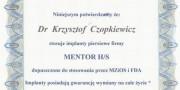 dr Krzysztof Czopkiewicz - zertifikat - Beauty Group - Artplastica