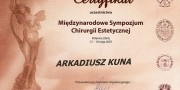 dr Arkadiusz Kuna - zertifikat - Beauty Group - Artplastica