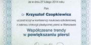 dr Krzysztof Czopkiewicz - zertifikat - Beauty Group